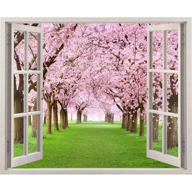Tranh dán tường cửa sổ HD Cảnh đẹp hoa đào CS-0024 Kim sa