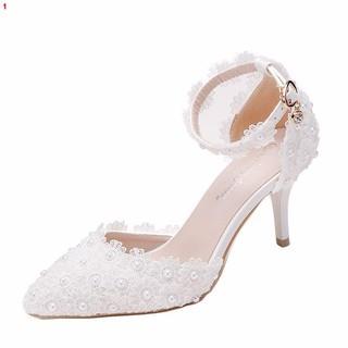 Giày Cao Gót 7cm Mũi Nhọn Màu Trắng Phối Ren Thời Trang