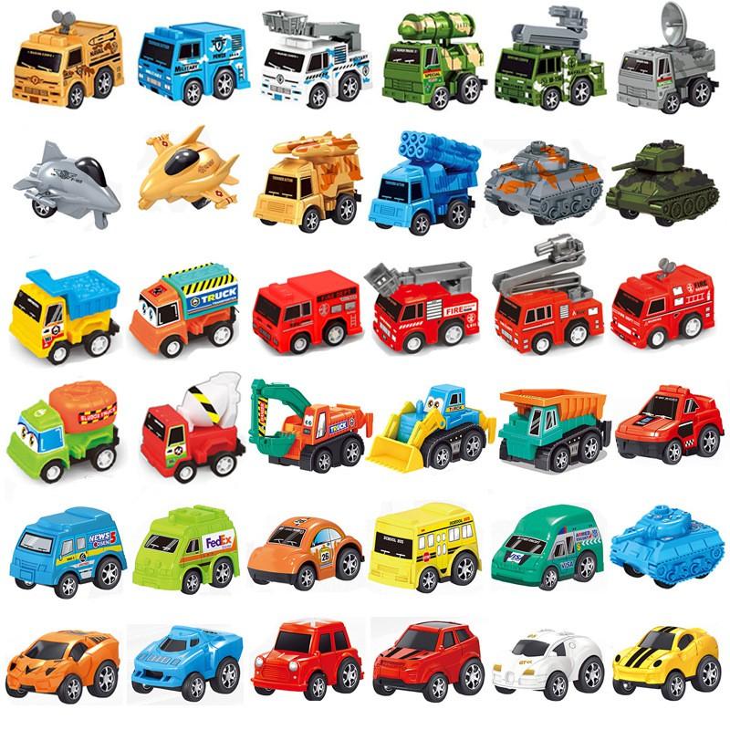 Bộ xe ô tô đồ chơi mini cho bé có dây cót chạy nhỏ nhắn xinh xắn tổng hợp rất nhiều loại xe khác nhau