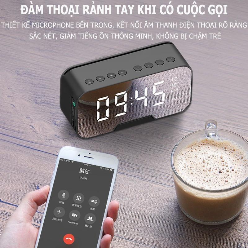 Loa Bluetooth mini K10, có Đài FM Tích Hợp Đồng Hồ Báo thức, khe cắm thẻ nhớ Màn Hình Tráng Gương