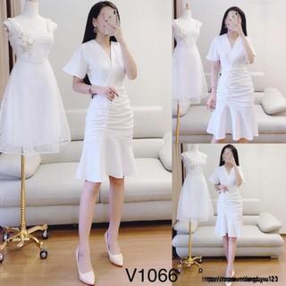 Mie Design – Đầm trắng đuôi cá hàng thiết kế V1066 ảnh thật