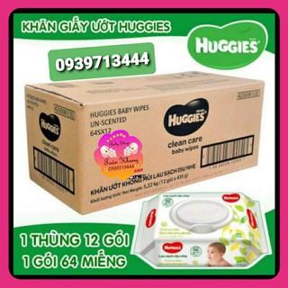 ♨️SỐC♨️Thùng 12 khăn giấy ướt Huggies không mùi loại 64 tờ
