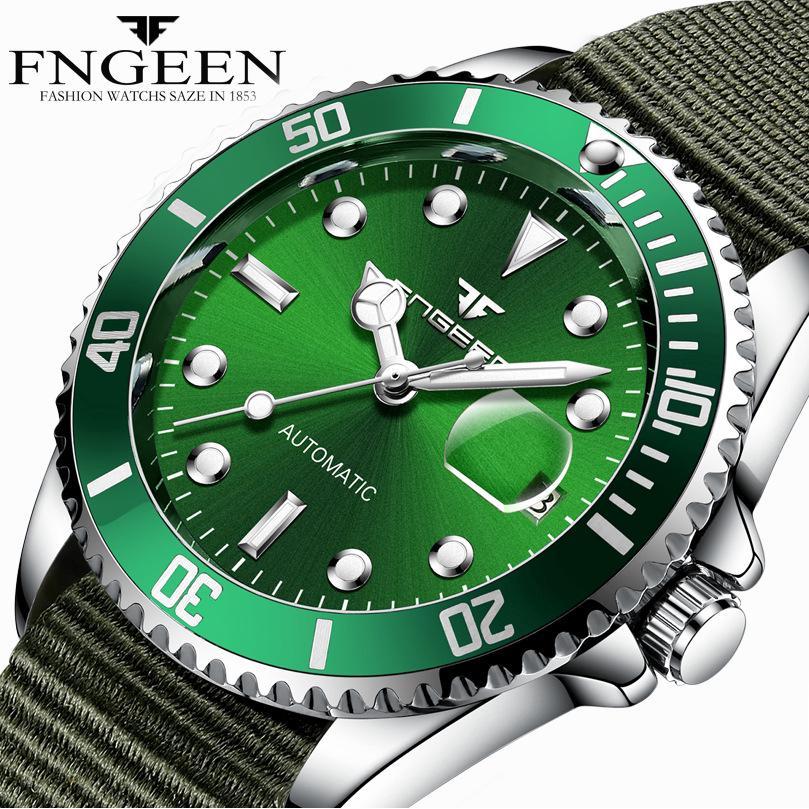 Đồng hồ FNGEEN 9001 máy cơ tự động thiết kế dây đeo canvas hợp thời trang