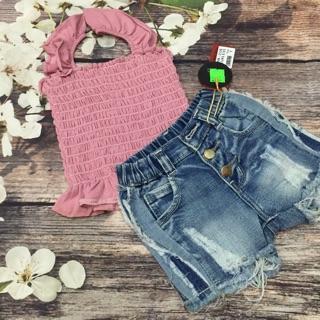 combo set áo nhúng quần jean cho bé