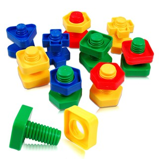 SUN11❤ 1 set Screw Building Blocks Insert Blocks Nut Shape Kids Educational