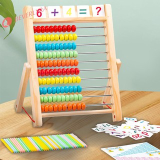 Wooden Computing Rack Kid Educational Toy Learning Card Montessori Math Toy