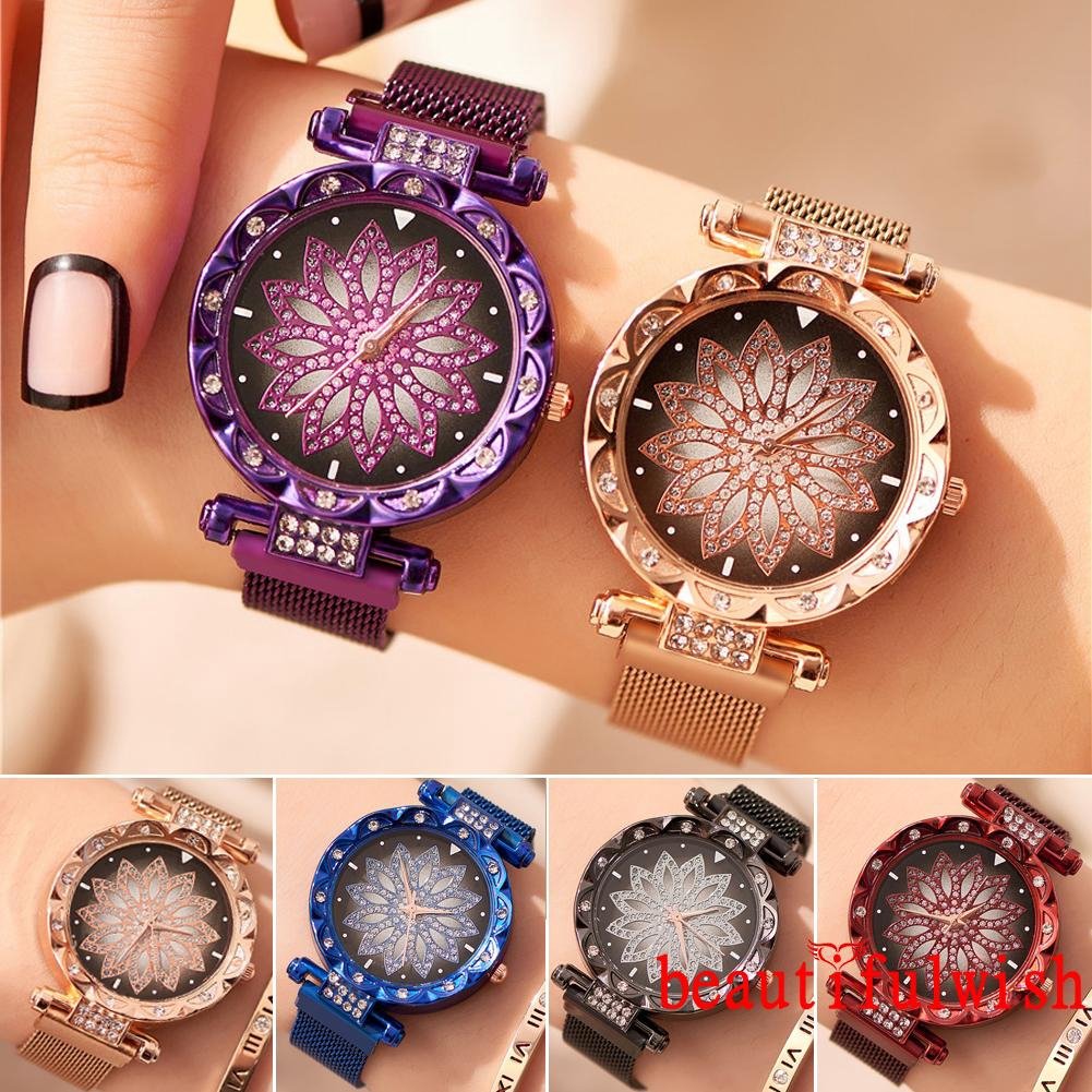 ☞❀❤♕GOAFashion New Women Starry Sky Diamond Face Quartz Watch Magnet Buckle Wristwatch