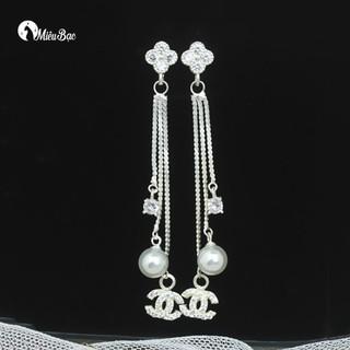 Bông tai bạc hoa dài khuyên tai nữ đẹp bạc s925 - miêu bạc