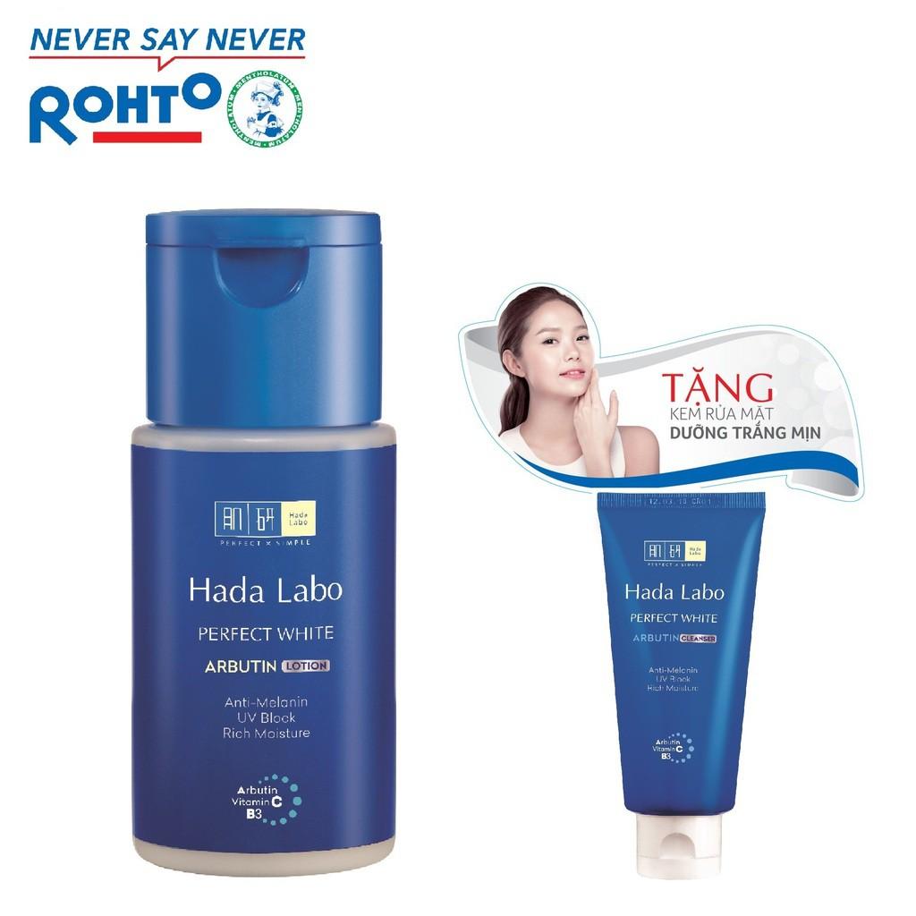 Dung dịch dưỡng trắng da tối ưu Hada Labo Perfect White Lotion 100ml + Tặng Kem rửa mặt Hada Labo 25