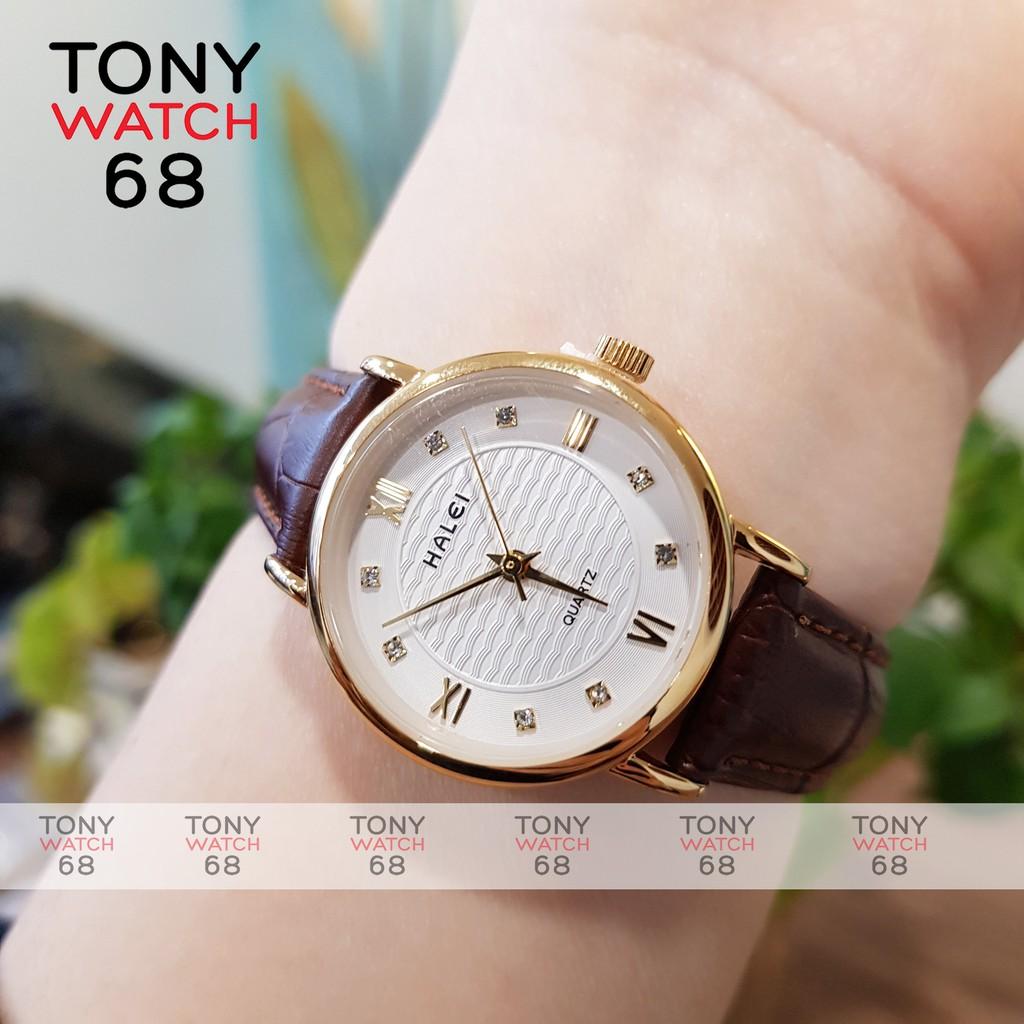 Đồng hồ nữ Halei dây da nâu mặt số la mã nhấn đá chống nước chính hãng Tony Watch 68