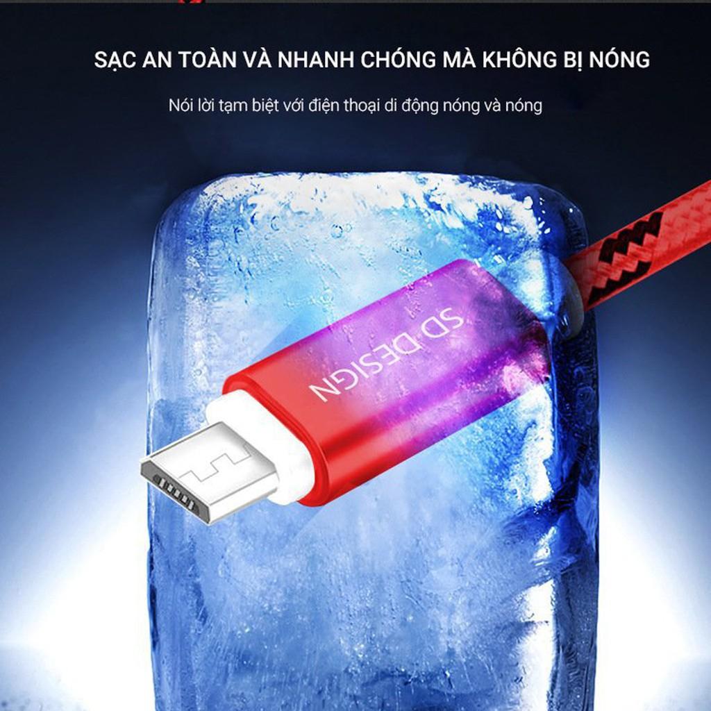 [Giá Sỉ] Cáp Sạc dây dù chính hãng SD DESIGN L1 cho iPhone,và dây sạt Micro USB, xạc chống đứt Bảo Hành 12 tháng