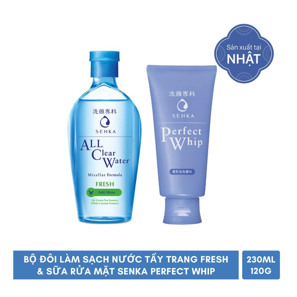 [Mã COSMALL25 -10% ĐH 250K]Bộ đôi làm sạch Nước tẩy trang Fresh 230ml & Sữa rửa mặt Senka Perfect Whip 120g_95203