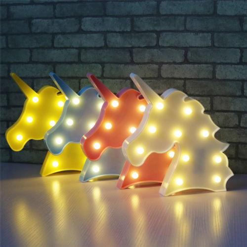 Đèn ngủ nhiều màu thiết kế hình đầu chú kỳ lân dễ thương cho bé