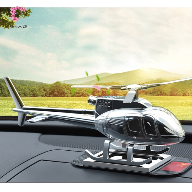 Simulate Silver Color Solar Rotation Helicopter Shape Decoration for Car Ornament