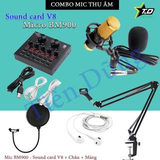 Combo bộ mIc thu âm BM900 dùng soud cad V8 (có chỉnh Auto-tune) Chân màng tai nghe- bộ livestream V8 mic bm900