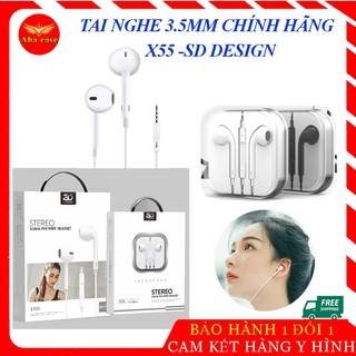 [Tai Xịn] Tai nghe dây chính hãng HiFi X55 SD Design 3.5mm âm thanh cực chất, tay ghe nhạc hay, chống ồn, nghe gọi tốt thumbnail