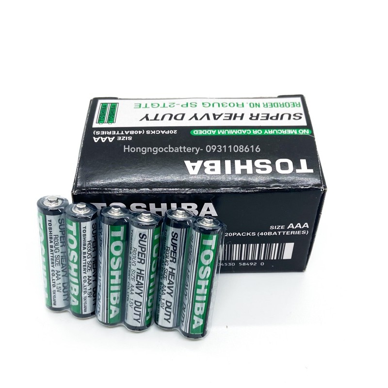 Bộ 6 Viên Pin AAA Toshiba R03UG Cỡ nhỏ Dùng Cho Remote