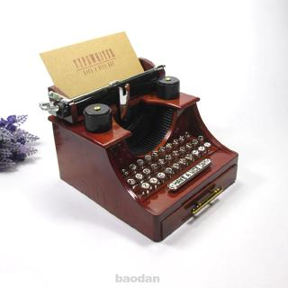 Classical Clockwork Mechanism Decoration Exquisite Home Office Retro Style Typewriter Pattern Music Box