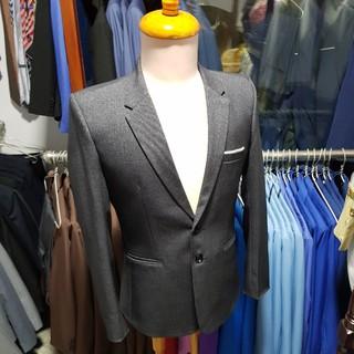 Bộ vest nam màu xám kiểu 2 nút trung niên