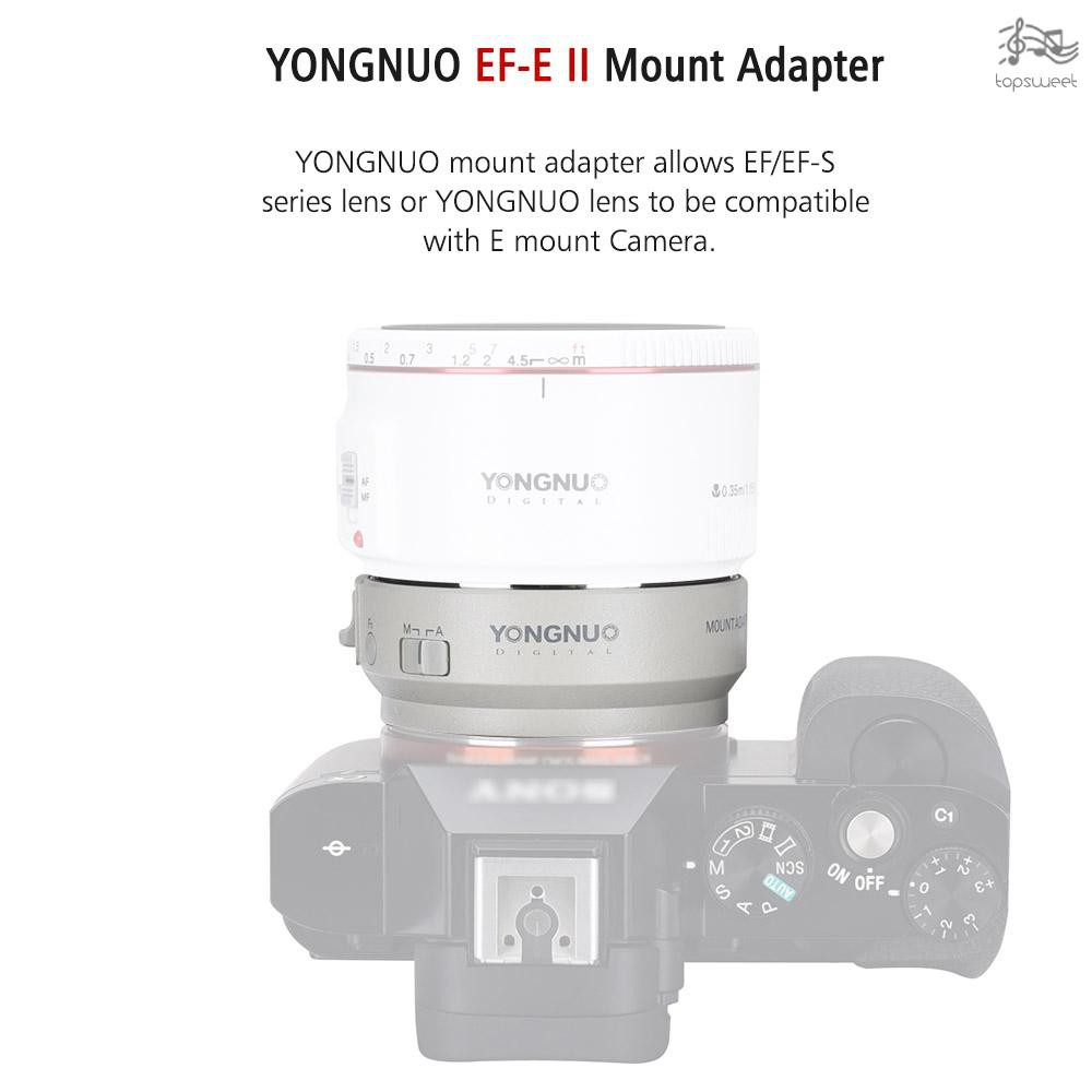 TS* YONGNUO EF-E II Lens Mount Adapter Ring with Auto Focus for Canon EF/EF-S Series & YONGNUO Lens Compatible for Sony
