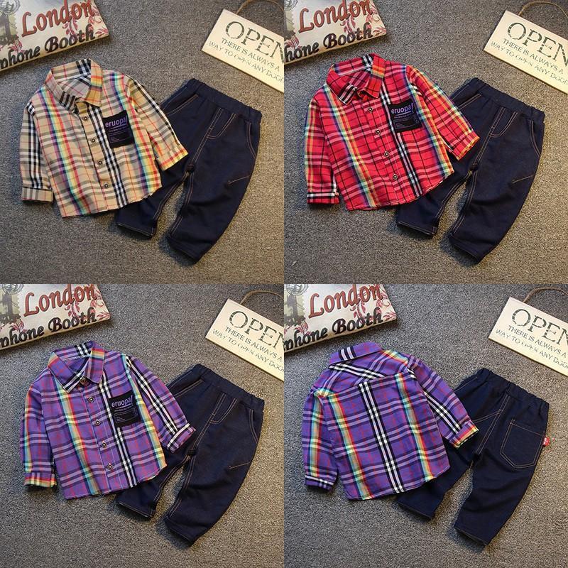 Set quần áo sọc caro thời trang dành cho bé trai