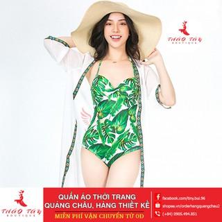 [ Free Ship 99k ] Bikini,Bộ Đồ Bơi Một Mảnh Hoa Lá Sexy Mặc Đi Biển , kèm mũ và dép BHV001