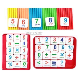 Bộ que tính, chữ, số và dấu trong hộp sắt