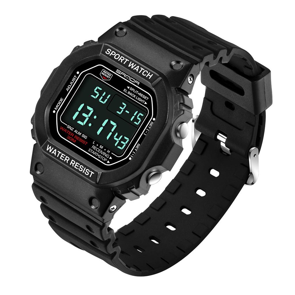 Đồng hồ nam SANDA 999 (đen) thể thao không thấm nước + tặng kèm vòng tay tỳ hưu may mắn phát tài