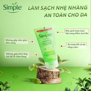 Hình ảnh [Mã FMCGMALL - 8% đơn 250K] Sữa Rửa Mặt Dịu Nhẹ Simple Kind To Skin Refreshing Facial Wash 150ml-2