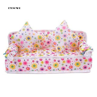 ♕Mini Furniture Flower Fabric Sofa Couch + 2 Cushions for Doll House Accessories