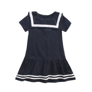Đầm Tay Ngắn Sanlutoz Màu Xanh Navy Bằng Cotton Cho Bé Gái
