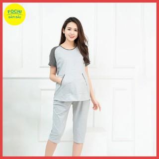 [Bộ Bầu Hot] Bộ Bầu Cotton Xám Túi Ếch FOCHI – Thời Trang Bầu Happy Mom – BB027
