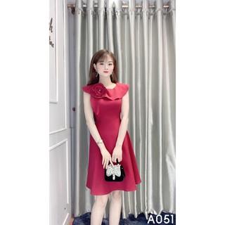 Đầm Công Sở Dáng Xòe Hoa Đính Ngực – Loire Store A051 Màu Đỏ