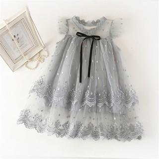 Đầm xòe công chúa phối hoa cho bé gái