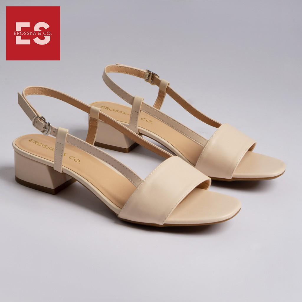Giày cao gót Erosska thời trang mũi vuông phối dây kiểu dáng thanh lịch cao 3cm màu nude _ EM031