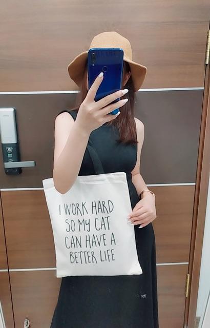 Túi tote vải canvas nữ - Túi tote nữ đeo vai đi học, đi chợ, đi làm cá tính SHE IS STRONG