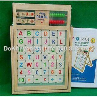 Bảng xếp học chữ & số nam châm gỗ Đức Thành