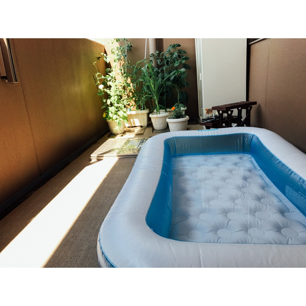 bể bơi hình chữ nhật 57403 tặng bơm tay , miếng vá intex