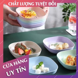 Set 8 đĩa nhựa lúa mạch an toàn, sâu lòng, màu Pastal siêu xinh - LanChiMart thumbnail