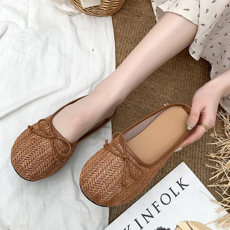 Giày lười đế bệt mũi đan sợi mây kiểu dáng vintage cổ điển cho nữ | Shopee  Việt Nam
