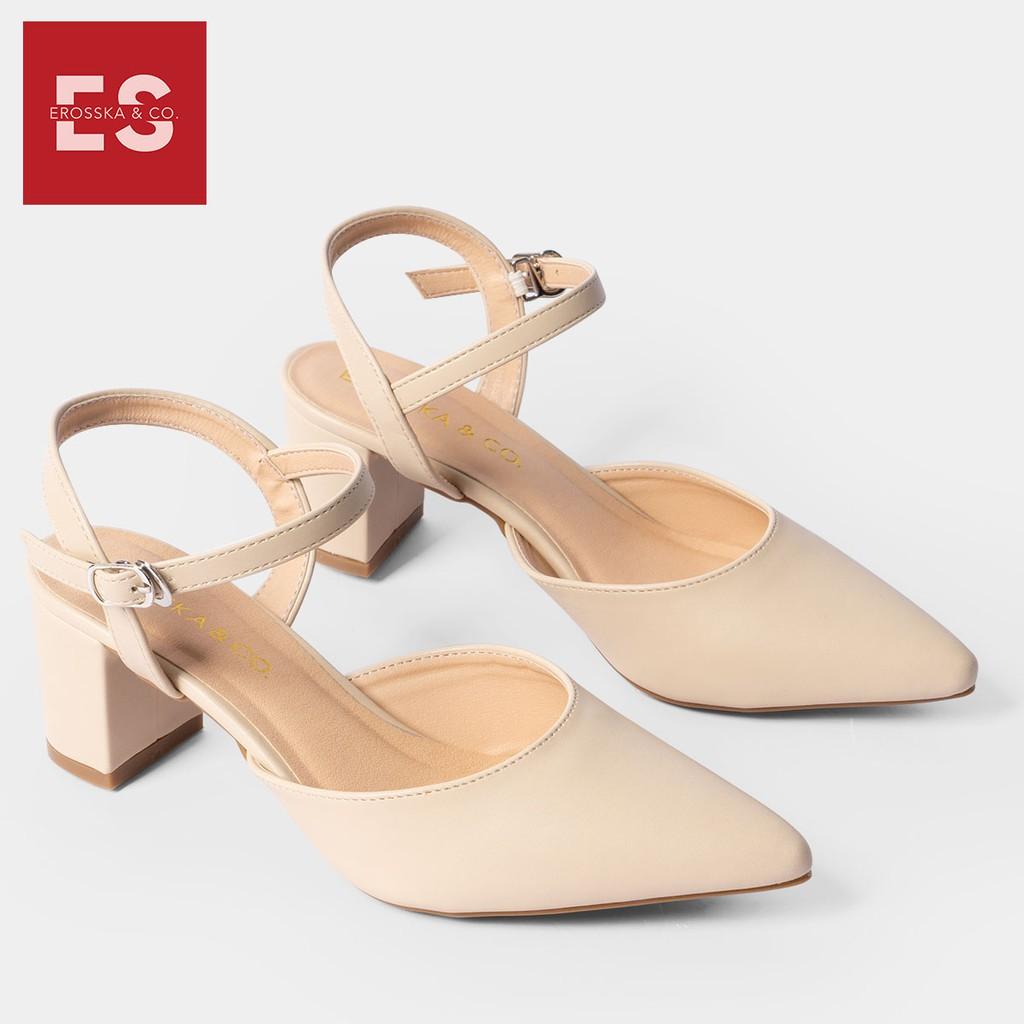 Giày cao gót Erosska thời trang mũi nhọn phối dây hở gót cao 5cm màu nude _ EK001