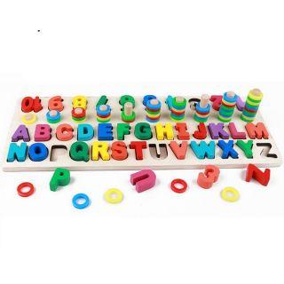 Bộ ghép chữ cái, ghép số Nổi và Thả vòng 10 cọc nhận biết cho bé