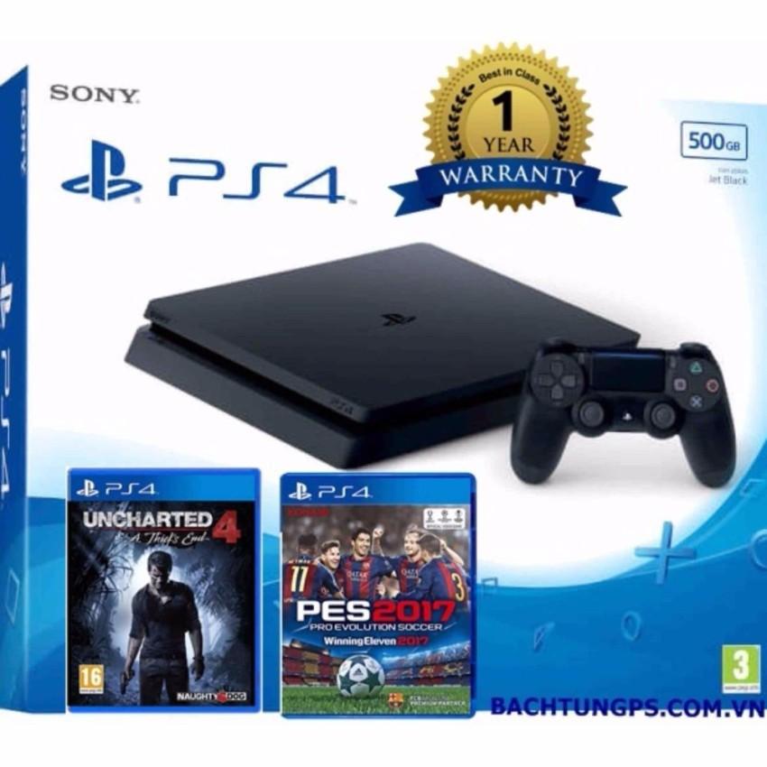 MÁY CHƠI GAME SONY PS4 SLIM 500GB TẶNG KÈM PES 2017 VÀ UNCHARTED 4