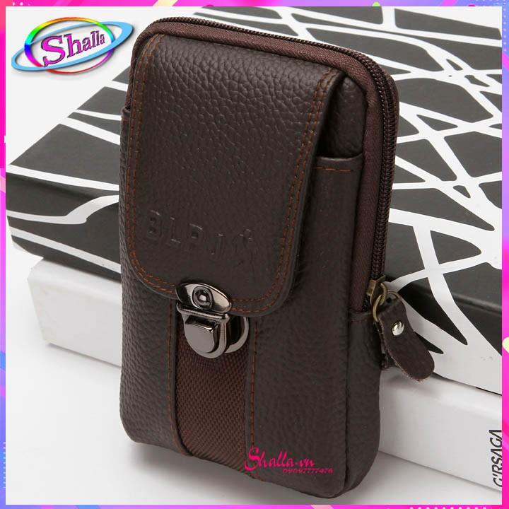 Bao da cao cấp đựng điện thoại đeo hông thương mại hai lớp 6.3 inch Shalla