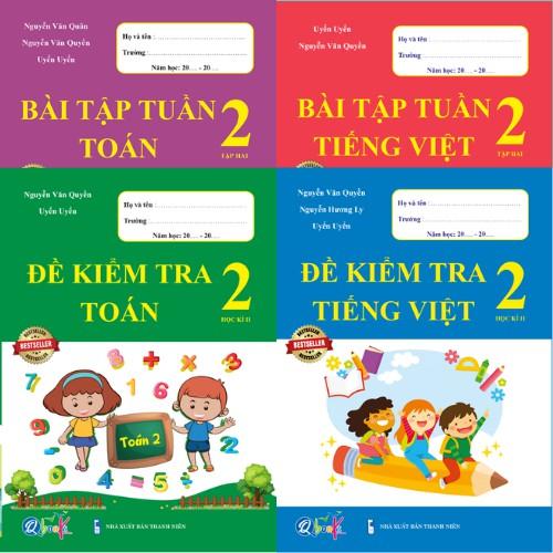 Sách - Combo Bài Tập Tuần và Đề Kiểm Tra Toán và Tiếng Việt 2 - Học Kì 2 (4 cuốn)