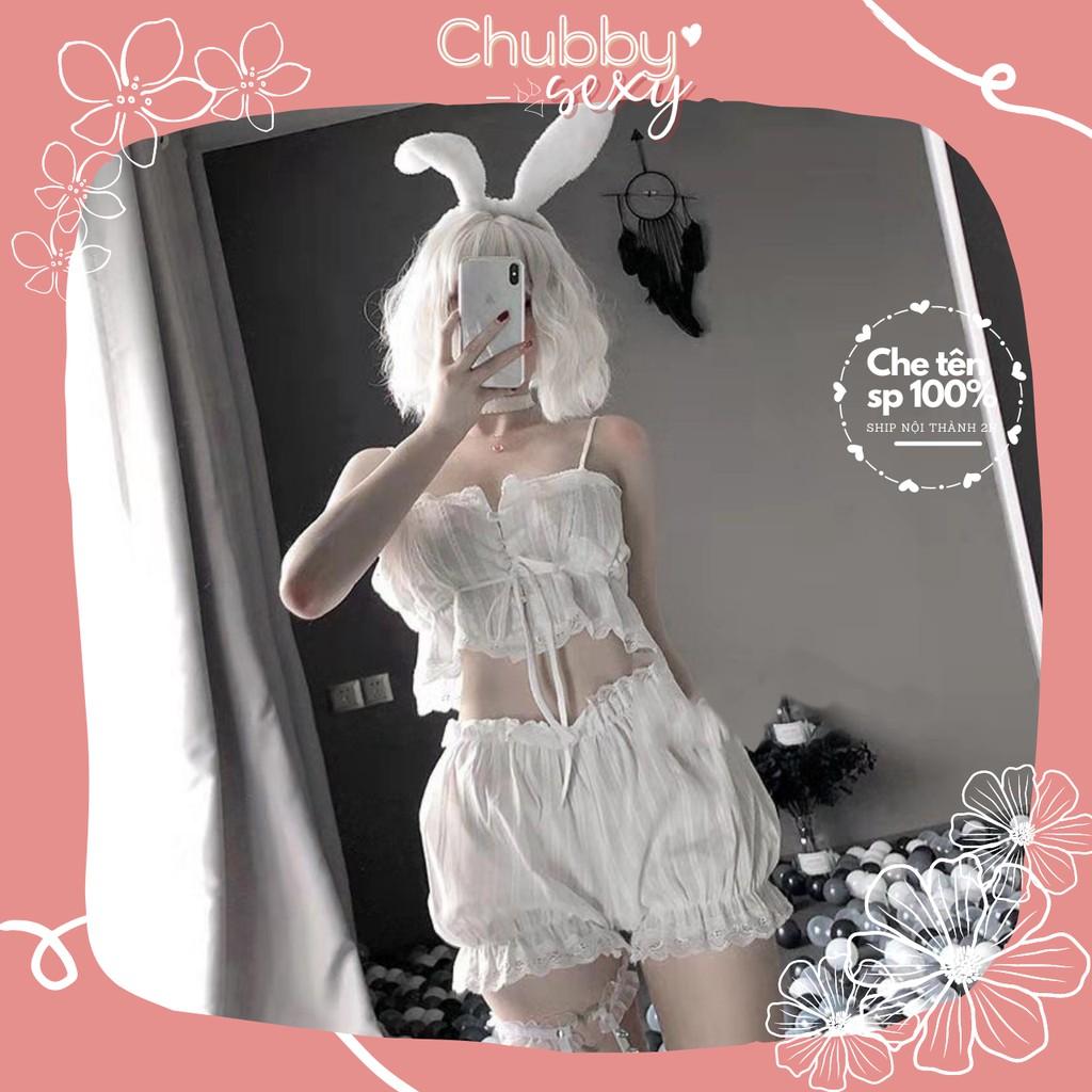 Bộ Đồ Ngủ Sexy Kute - [ Xả Kho Giá Sock ] Đồ Lót Nữ Sexy - Set Đồ Ngủ Vải Đũi Dễ Mặc Dễ Thương - CPL111 - Chubby.Sexy