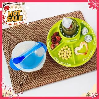 Combo ăn dặm Nhật: 1 Khay ăn 4 ngăn Inomata và 1 Bát chống đổ kèm thìa báo nóng
