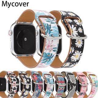 NEW Dây Da Họa Tiết Hoa Cho Đồng Hồ Apple Watch Series 5 4 3 2 1 (Iwatch 38mm 42mm 40mm 42mm)