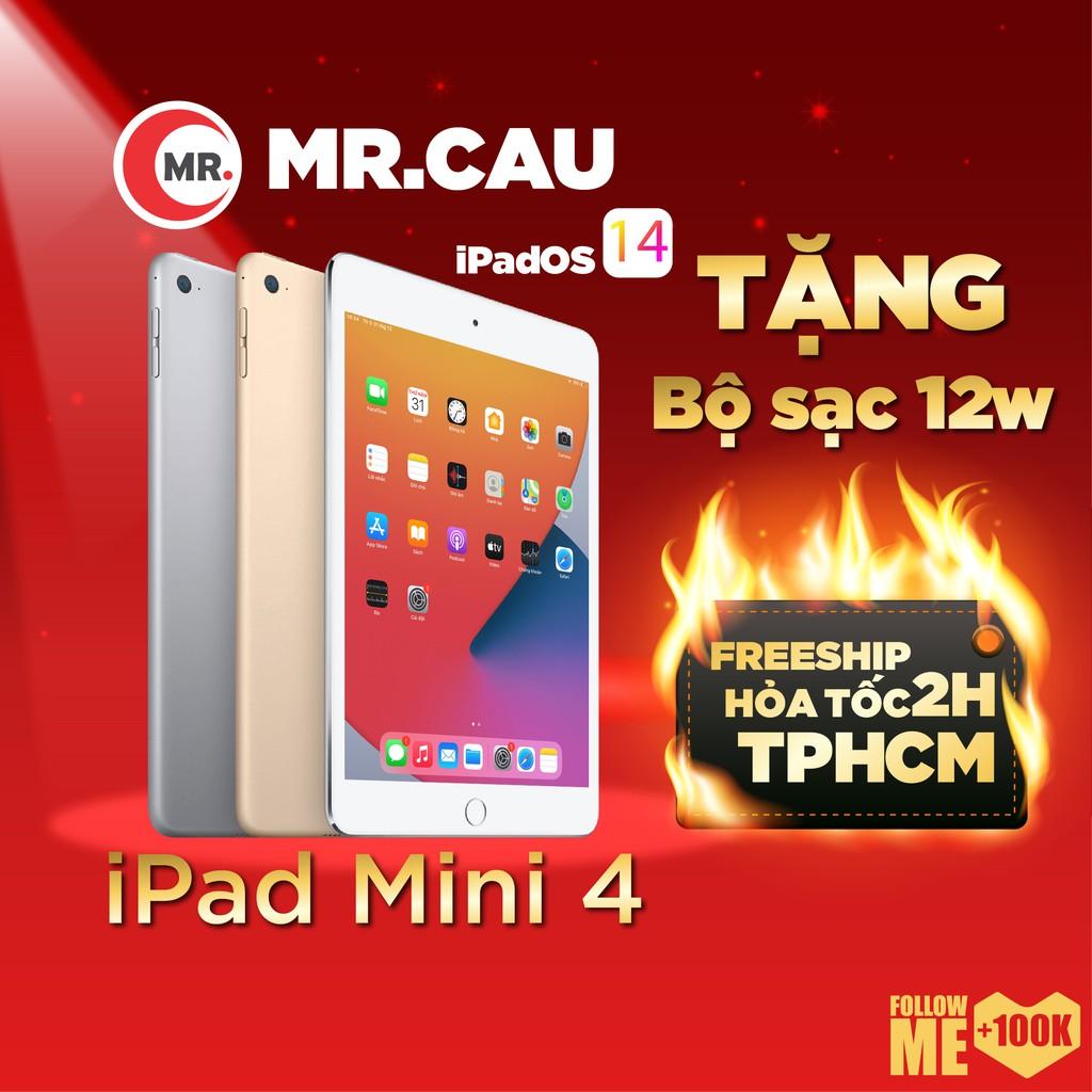 Máy tính bảng iPad Mini 4 Bộ nhớ 16/64G  bản 4G + WIFI chính hãng Apple - NHƯ MỚI 99% - TẶNG: BỘ SẠC 12W + BAO DA