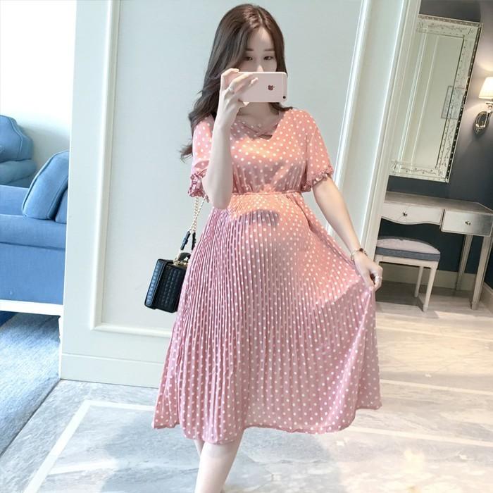 Váy bầu (Đầm bầu) hồng châm bi Voan cao cấp 2019